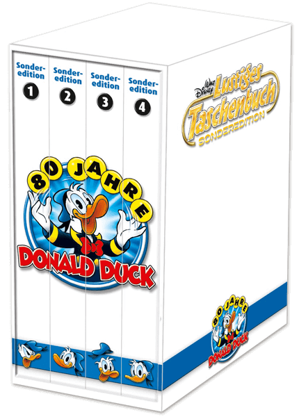 "LTB Sonderedition ""80 Jahre Donald Duck"" Nr. 1 - 4 + Sammelbox"